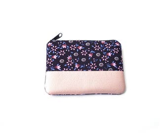 Mini Change Pouch, Flower Coin Purse, Small Zipper Pouch, Card Holder, Vegan Leather, Small Coin Purse, Mini  Purse,