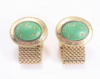 Vintage Dante Wrap Around Cufflinks Green Glass Thunderbolt Gold Tone