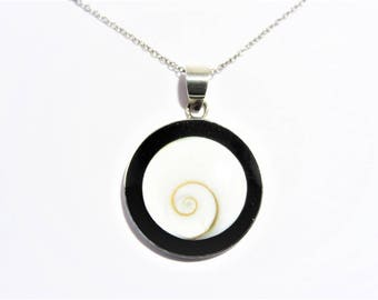 Vintage Shell and Onyx Sterling Pendant Necklace