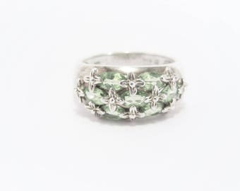 Vintage Sterling Marquise Peridot Cluster Ring Size 8