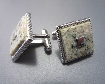 Vintage Square Anson Marble Cuff Links