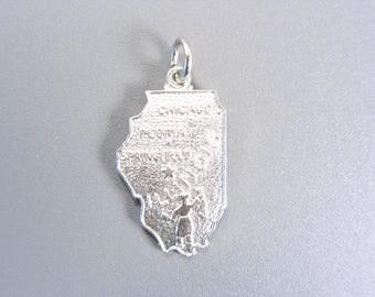 Vintage Wells Sterling US Prairie State Illinois Charm