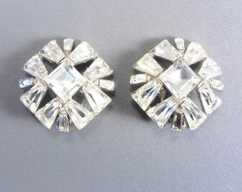 Vintage Bogoff Clear Rhinestone Earrings Clip On as found