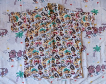 Vintage 90's All Over Bowling Print Button Up Shirt, size XL