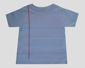 Blue Toddler Notebook Paper Graphic© T-shirt! - *Ready to Ship - Classic White - Size 2T & 3T - Fun and Unique Back to School Gift for Kids!