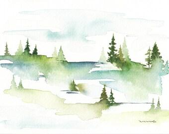 Simple Nature Scene - Watercolor Print