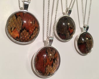 Corn Snake Skin Pendant Necklace - Silver