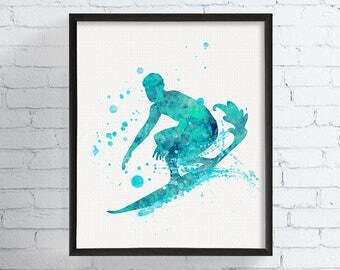 Surf Watercolor Print, Surfer Wall Decor, Surfer Art, Surfer Print, Surfing, Surf Illustration, Surf Painting, Sea, Water, Sport,, Framed