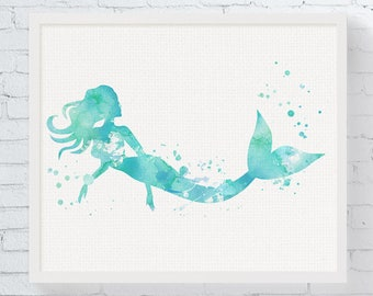 Watercolor Mermaid Print - Mermaid Art - Mermaid Painting - Mermaid Wall Art - Mermaid Nursery Decor - Girls Room Decor, Beach House, Sea,