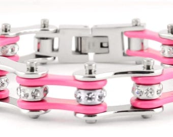 Women's Ladies Motorcycle Stainless Steel Crystal Pink Bike Chain Bracelet