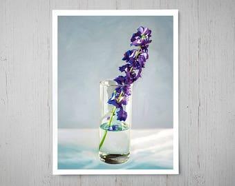 Delphinium Flowers - Fine Art Oil Painting Archival Giclee Print Decor by Artist Lauren Pretorius