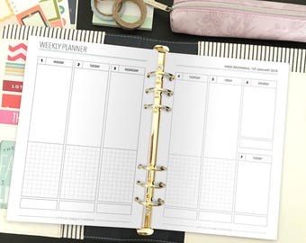 2018 Weekly Planner - 2018 Printable Planner - Vertical Weekly Planner - Planner - Planner Inserts - A5 Planner Inserts - Instant Download