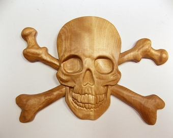 Skull and Bones - Pirate Decor ~  3D Wooden Pirate Art ~ Pirate Skull and Crossbone ~ Halloween Decor ~ Pirate Wood Carving ~ Solid Birch