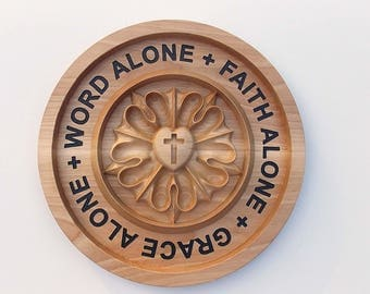 """Luther's Rose Wood Carving Wall Hanging - Pastor Gift - Hand Painted Letters Wood Wall Art - Wood Decor - Round 8"""" x 8"""" x 1"""" - Birch Wood"""