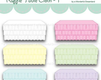 50% OFF Ruffled Table Cloth - Instant Download Printable Clipart Clip Art Digital PDF PNG File
