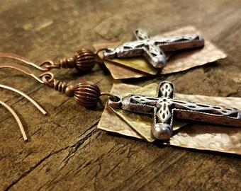 Cross Earrings, Metal Earrings, Mixed Metal Earrings, Copper Earrings