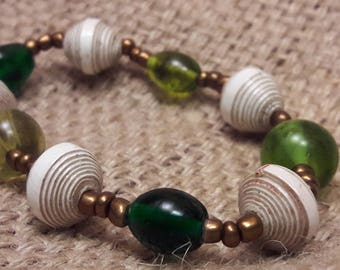 Reclaimed Paper and Green Glass Bead Stretch Bracelet