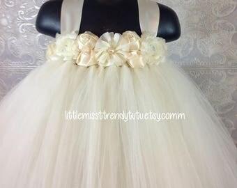 Ivory Tutu Dress, Tutu Dress, Flower Girl Tutu Dress, Flower Girl, Ivory Flower Girl Tutu Dress  Girls Ivory Tutu Dress, Ivory Tutu
