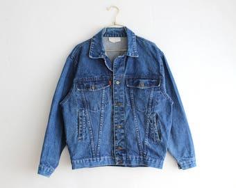 90's Denim Jacket, vintage Dark Wash Denim Jacket, men jean jacket Size Large