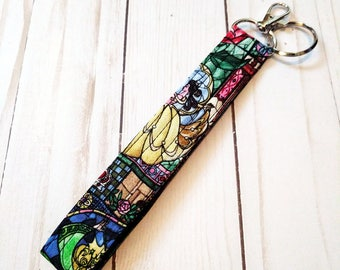 Belle Stained Glass Wristlet Key Fob / Cotton / Quilted Keychain / Handmade