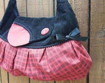 Handbag red plaid