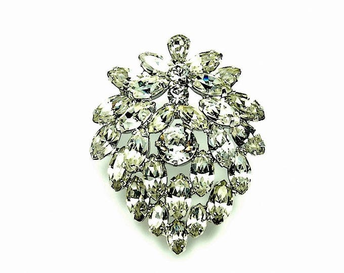 Featured listing image: Vintage Estate Jewelry Ladies Brooch Signed Albert Weiss Rhodium Rhinestone | Collectibles