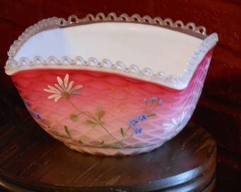 Hand Painted Pink Opalescent Square Bowl