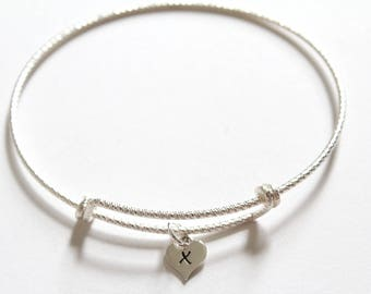 Sterling Silver Bracelet with Sterling Silver X Letter Heart Charm, Silver Tiny Stamped X Initial Heart Charm Bracelet, X Charm Bracelet