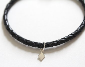 Leather Bracelet with Sterling Silver Diamond Suit Charm, Tiny Diamond Suit Charm Bracelet, Diamond Suit Charm Bracelet, Diamond Bracelet