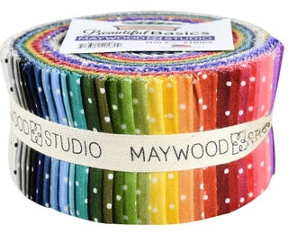 "Sale!   BEAUTIFUL BASICS   Classic Dot Jelly Roll  - 2.5"" Strips   By Maywood Studios    40  2-1/2"" Strips  ST-MAS609"