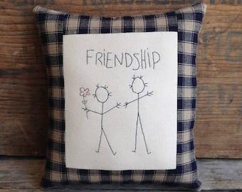 FRIENDSHIP Pillow. Hand drawn. Hand-stitched. Small Pillow. Friendship Gift. Hand Embroidery. Handmade Gift. Best Friend Gift. BFF Gift.