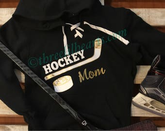 Hockey Mom, Grandma, Nana, Grams, Grammy Etc Hooded sweatshirt lace up