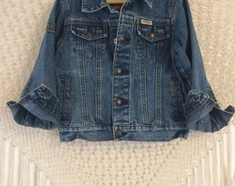 Size 4T vintage Levi Strauss snap button front jean jacket, denim jacket, toddler jean jacket, folkie kids, boho kids, bohemian kids, hippie