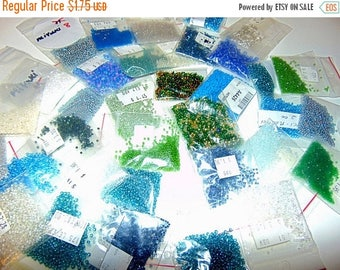 Summer Sale 65% off Assorted color Seed Beads, Miyuki, Matsunos, Ming Tree blues, aquas, whites and light blues  Sz 2's, 3's 5's