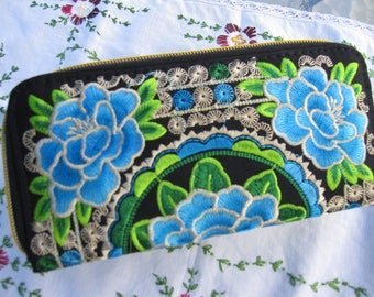 Coin purse, wallet, wallet, black wallet, embroidered flowers 3