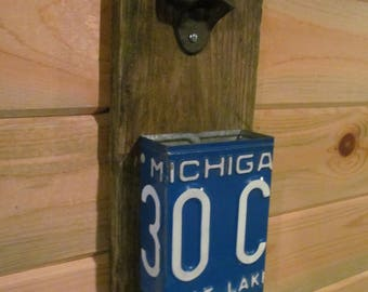 Bottle opener & Cap catcher made with a Vintage Michigan License plate and Barn wood