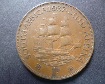 1937 South Africa One Penny coin featuring Dromedaris Ship and King George the Sixth, ideal for craft or jewellery making.