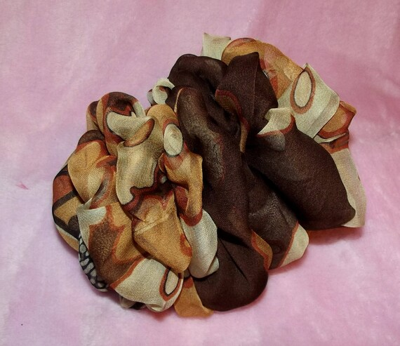 Becky Bows ~OOAK ROSETTE Barrette Hand crafted giant huge Scarf BIG hair bow Women or Girls brown gold cream