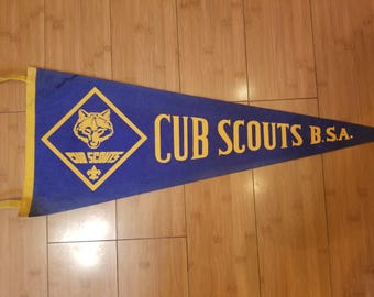 """Vintage Cub Scouts, Boy Scouts of America Pennant, Banner, Flag 29"""" Long"""
