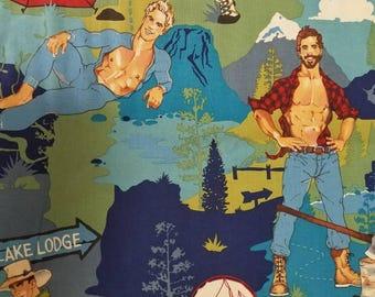 HALF YARD The Outdoorsy Type- Camping Pinup Men Guys High Quality Quilt Cotton- Alexander Henry