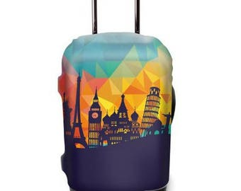 Luckiplus City Luggage Cover Spandex Suitcase Cover Fits 18-32 Inch Luggage