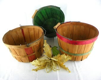 Vintage Wood Apple Basket Grouping for Fall Decorating