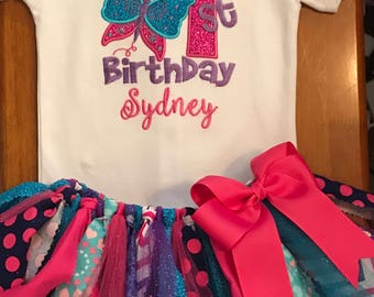 Pink, Purple, and Turquoise Butterfly Birthday Scrap Fabric Tutu Outfit
