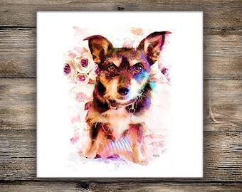 Custom Pet Portrait, Downloadable Digital Artwork, Dog Portrait, Digital Pet Painting Based on Photo, Memorial Pet Painting, Pet Lover Gift
