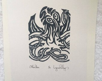 "Choice of Eye Color Medium Grey ""Cthulhu"" Limited Edition Linocut Print 5"" x 7"" Image Area Mounted on 9"" x 12"" 140 lb. Water Color Paper"