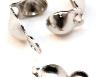 50-200 Silver Plated Nickel Free Calotte End Beads 9mm x 3mm ~ Jewellery Making Essentials