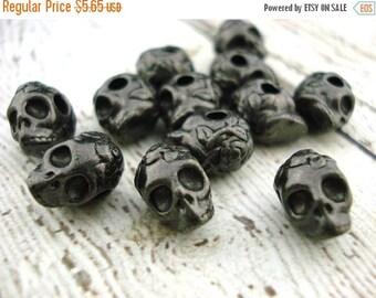 Summer Sale Sugar Skull Beads TierraCast Black Oxide 10mm Big Hole, Gunmetal Gray, Qty 4 Day of the Dead Rose Skull