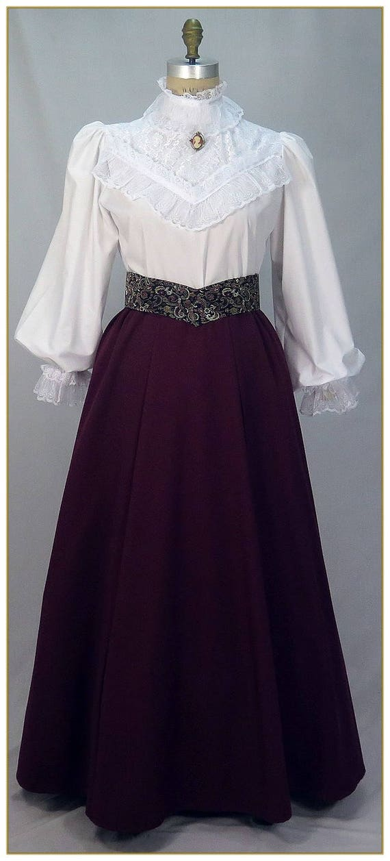 Victorian Costumes: Dresses, Saloon Girls, Southern Belle, Witch Victorian Gabardine Skirt Dark Violet. Made to your choice of waist size and finished length.Victorian Gabardine Skirt Dark Violet. Made to your choice of waist size and finished length. $65.00 AT vintagedancer.com