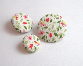 Fabric button flowers 28 mm