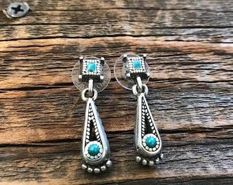 Brighton Turquoise Enamel Silver Tone Boho Pierced Earrings!!